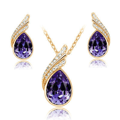 Fashion Austria Crystal Water drop Leaves Earrings necklace jewelry sets Classic design yellow Gold plated women gift