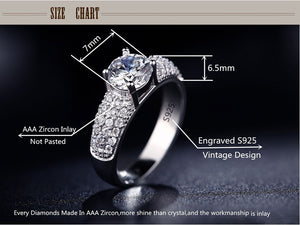 S925 White Gold  Rings For Women Wedding Jewelry Bijoux zirconia vintage Accessories Engagement Bague Bijouterie