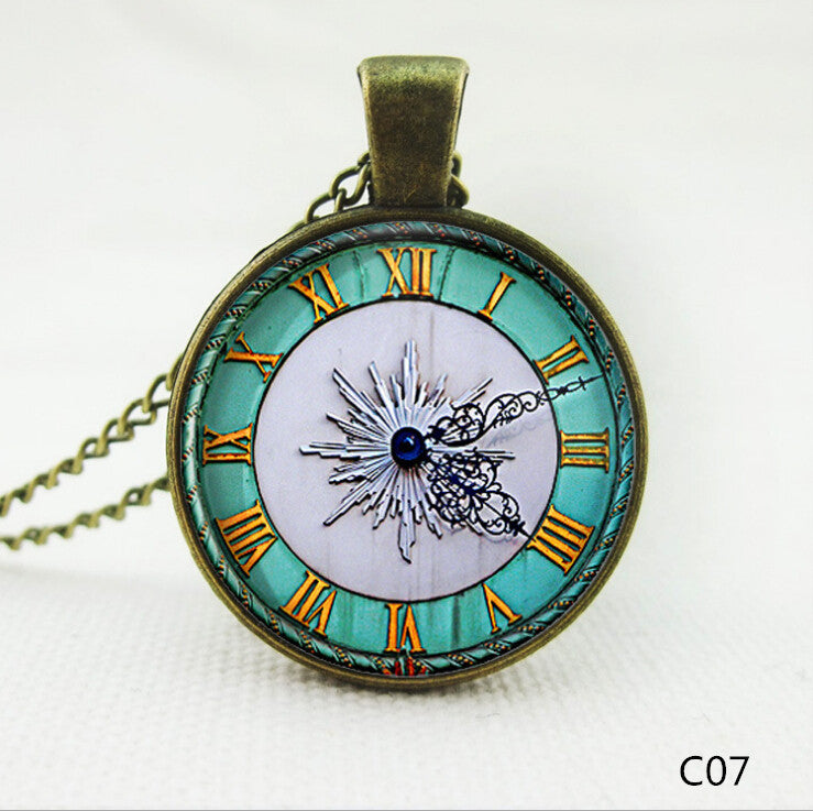New Brand Fashion Cabochon Jewelry Vintage Choker Antique Silver Alloy Galaxy Collar Clock Statement Necklaces For Women Men