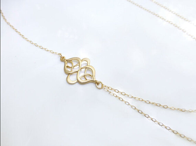 New Simple Golden Color Hollow Out Pattern Branch Pendant Charm Short Necklace Women Gifts Jewelry