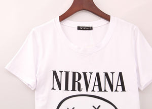 2 Colors 2016 Rock Band T Shirt Women NIRVANA printed Printing T-shirt Women Tops Tee Shirt Femme Plus Size XXS-XL Woman Cloth - Gifts Leads