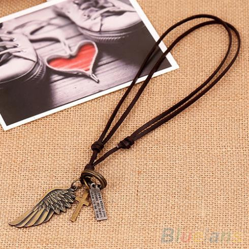 Antique Vintage Angel Wing Mens Leather Necklace Charms Pendants