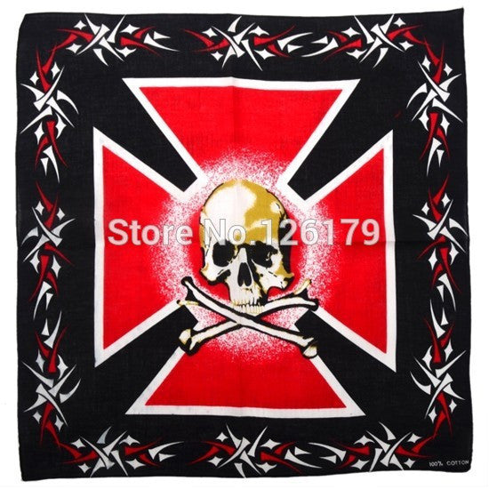 1PC New Unisex 100% Cotton Kerchief Flag Skull Prints - Gifts Leads