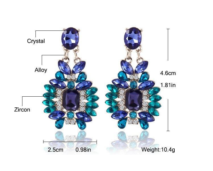 New Summer Bohemian Colorful Big Drop Earrings Fashion Accessories Crystal Dangle Earrings Jewelry Women Gift