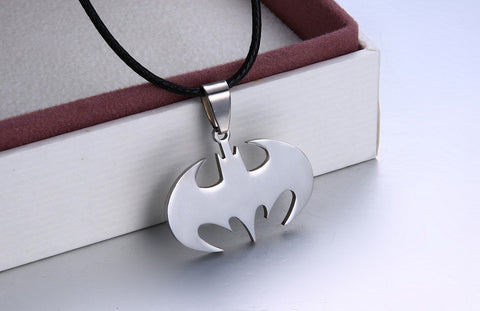 Fashion Jewelry Slippy Bat Batman Sign Pendant 316L Stainless Steel Necklaces leather chain Mens Necklaces