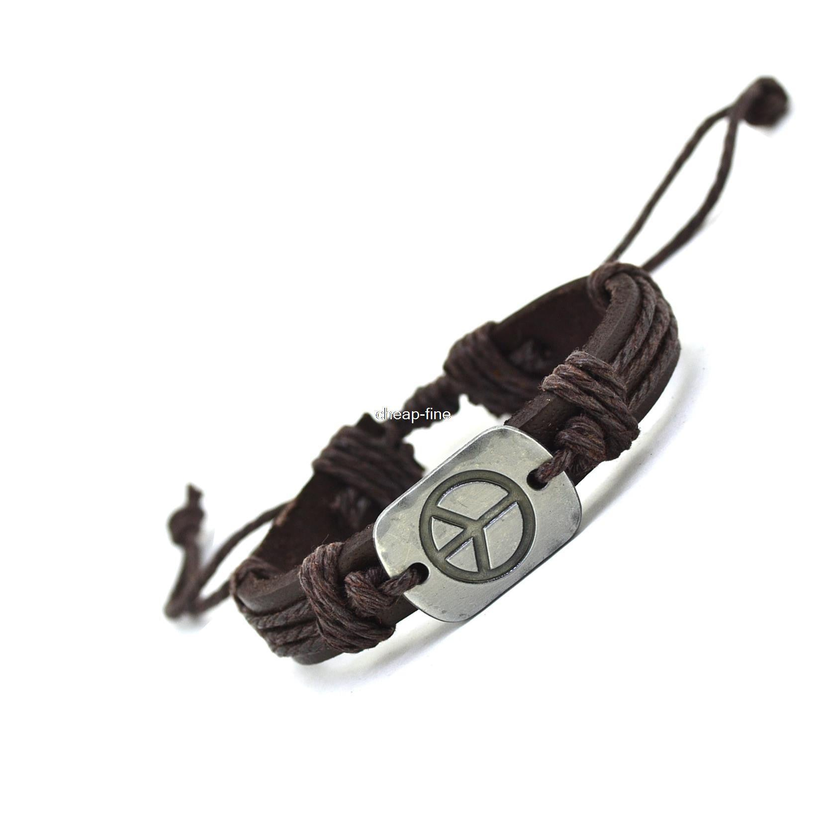 Peace Charm Genuine Leather Bracelet Cuff Braided Wrap Bracelet & Bangles Fashion For Women Men Gifts