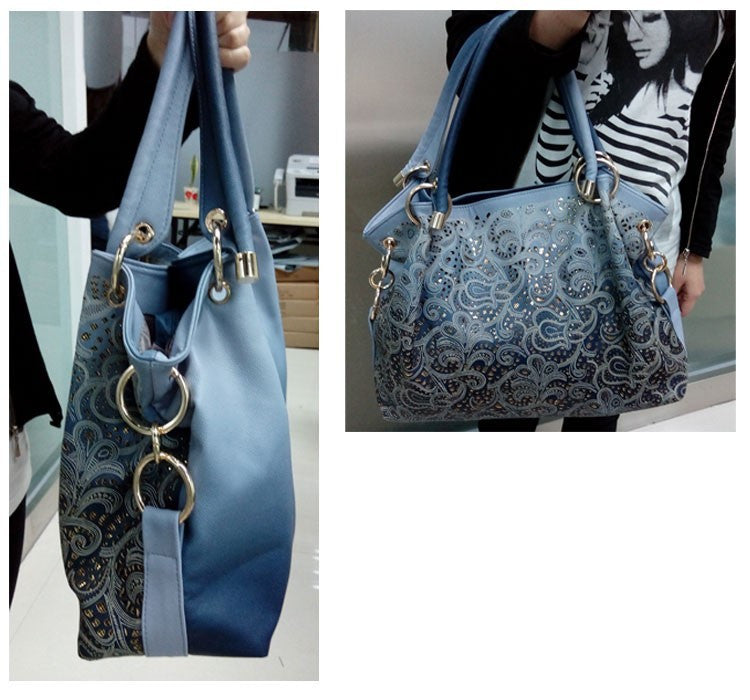 54374a3831 Hollow Out Large Leather Tote Bag 2016 Luxury Women Shoulder bags ...