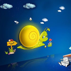 Cartoon Snail LED Night Light With Sensor 3D DIY Cute Wallpapers Plug-in Wall for House Bedroom Decoration-Energy Saving