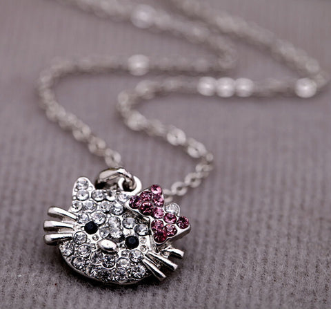 Super cute full crystal hello kitty ring,earring and necklace set girls jewelry set