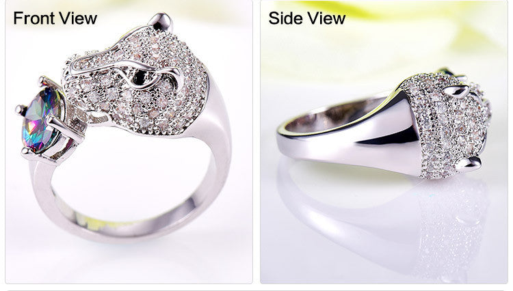 New Animal Ring  Leopard-headed Ring Trendy Charming AAA Rainbow