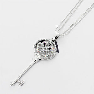 Chains 925 Silver Blue Enamel Key Necklaces high quality fashion/classic jewelry Men Women