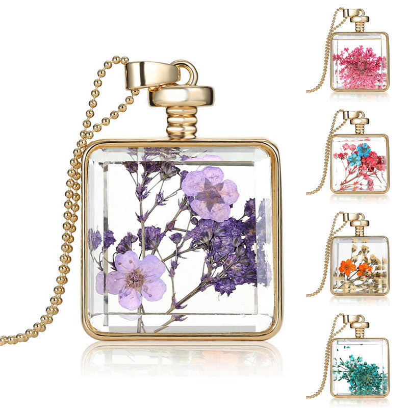 Collares Purple Dried Flower Glass Square Pendant Necklace Gold Color Long Chain Statement Necklace Women Fine Jewelry 2016