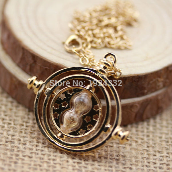 2017 Harry Potter Time Turner Neckaces Hermione Granger Rotating Spins Gold Plated Hourglass Choker Necklace