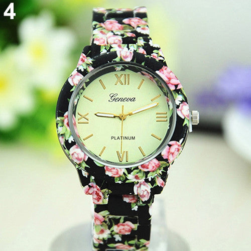 Women's Floral Print Ceramic Style Quartz Wrist Watch