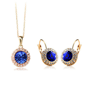 Top Quality 23 colours for choose,,2016 new design cheap crystal jewelry set for women
