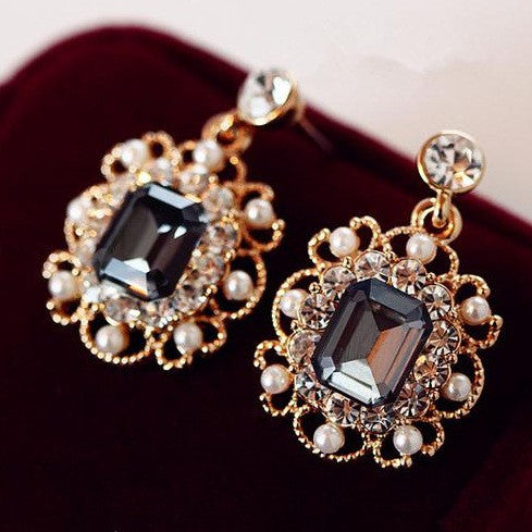 Jewelry Charm Fashion Wedding Earrings With Pearls Drop Earring Gold Plated Crystal Dangle Earrings Jewelry Gift for Women