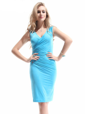 Sexy V-neck Blue Ruffles Button BNWT Cocktail Dress