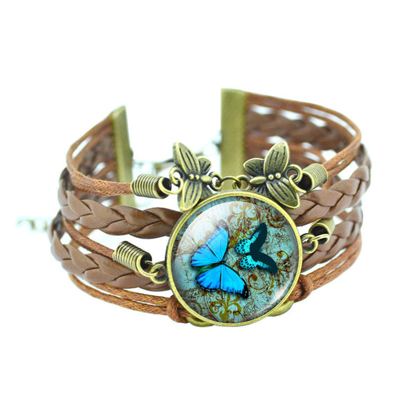 cabochon bracelets for women bangles glass products bronze fashion butterfly product fo image classic gifts leather newest bracelet leads grande