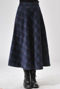 2016 Autumn and winter retro Plaid Long Skirts Women Fashion Pleated Skirt - Gifts Leads