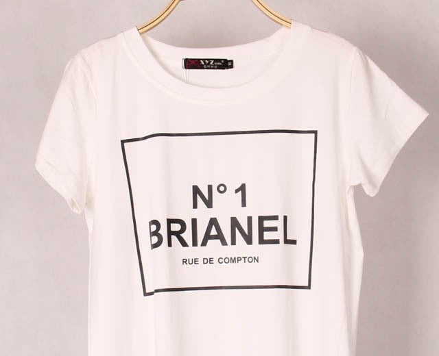 2 Colors New Fashion Womens BRIANEL Printed T-shirts Personality Short Sleeve Stretched Cotton Modal Woman Tops Tees S/M/L - Gifts Leads