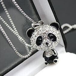 Imitation Diamond Sweater Chain Necklace Cute Female Panda Jewelry