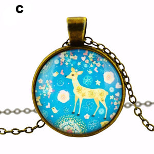 Elk Pendant necklace glass cabochon chain necklace choker necklace jewelry fashion women 2016 accessories