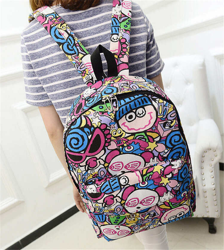 Hippie Facebook Canvas Backpacks Student School Bag Cartoon