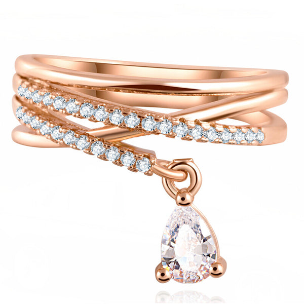 Classic Multilayer Cross Wedding Crystal Water Drop Pendant Rings