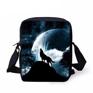 Casual Women Messenger Bags Wolf Cat Black Skull Crossbody Bag Brand Designer Bolsos Mujer Small Shoulder Bags Girls Handbags
