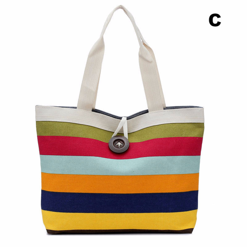 New brand 2016 Fashion women Lady striped Shopper Handbag Shoulder Canvas Bag Tote Purse Gift 1 pcs