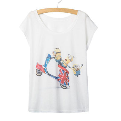 Factory Outlet Summer Shirts Women Style Printing Women T shirt New Minions Women Tee Shirts Cute Casual O-neck Short-Sleeve