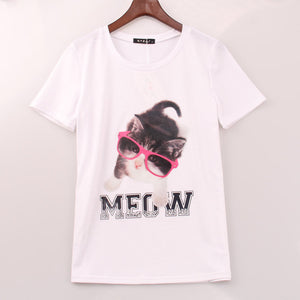 2016 Cute Sweet T Shirt Women Kawaii Cat Printed Printing T-shirt Women Summer Short Sleeve Tee Shirts Woman Sakura Clothing