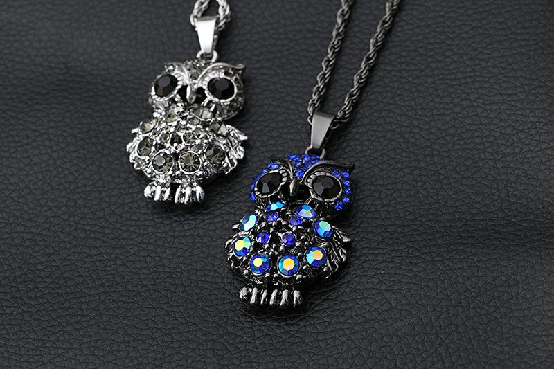 New Brand Design High Quality Retro Charm Crystal Gem Cubic Zircon Diamond 18K Gold Owl Long Chain Necklaces&Pendants