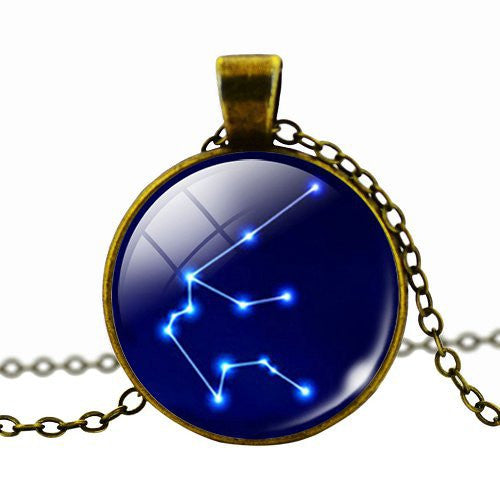 Fashion WOMEN MEN Cabochon Zodiac Pendant Necklace Antique Bronze Chain Necklace Choker  Vintage Jewelry