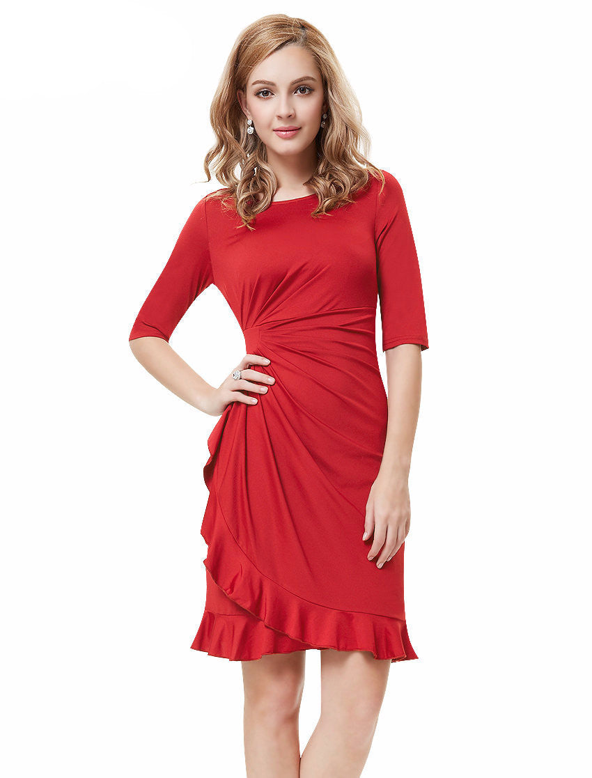 Free Shipping  New Fashion Red Half Sleeve Halter Short Prom Party Dress