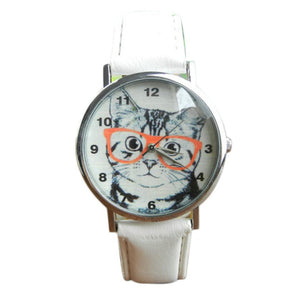 Cute Cat Pattern Watch Women Girl Leather