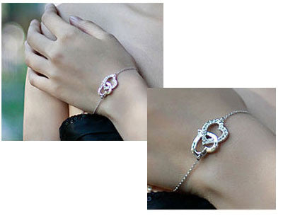 Gift Bag Hotselling Austria Crystal Double heart Bracelet Zircon Alloy Silver Plated Jewelry