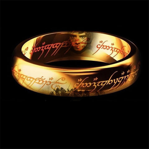 100% Titanium steel Gold Ring men the hobbit  Lord of the rings - Gifts Leads