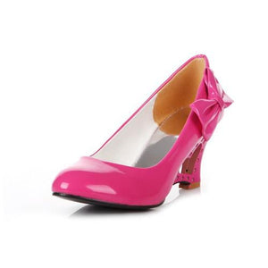 Low price new fashion women pumps wedges bowtie