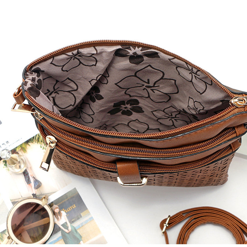 Women Flower Carved Hollow Out Vintage Messenger Corssbody PU Leather Flap Bag Casual Shoulder Bags Girls Gifts Fashion Designer