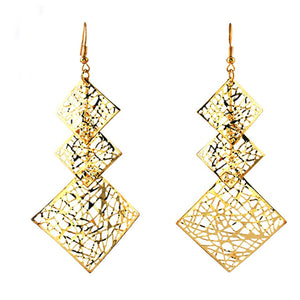 Fashion  Alloy hollow three sqaure long Earrings for woman Hot promotion!