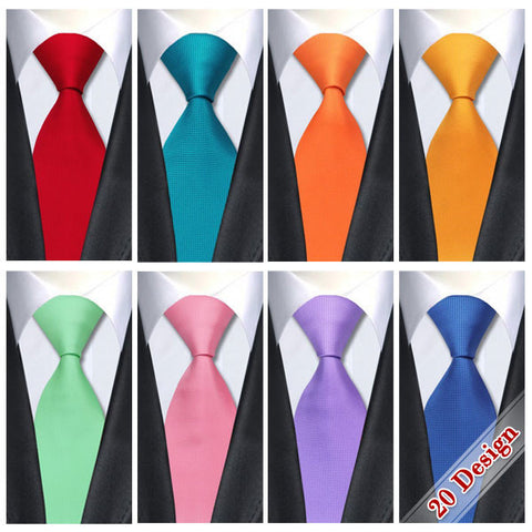 20 Style Solids Plain Classic Tie Silk Necktie 2016 Jacquard Woven - Gifts Leads