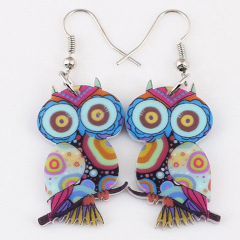 1 Pair owl cute lovely printing drop earrings acrylic new 2016 design spring/summer style for girls woman jewelry - Gifts Leads