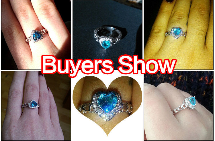 Endless Love Like The Sea Heart Cut Aquamarine with AAA White