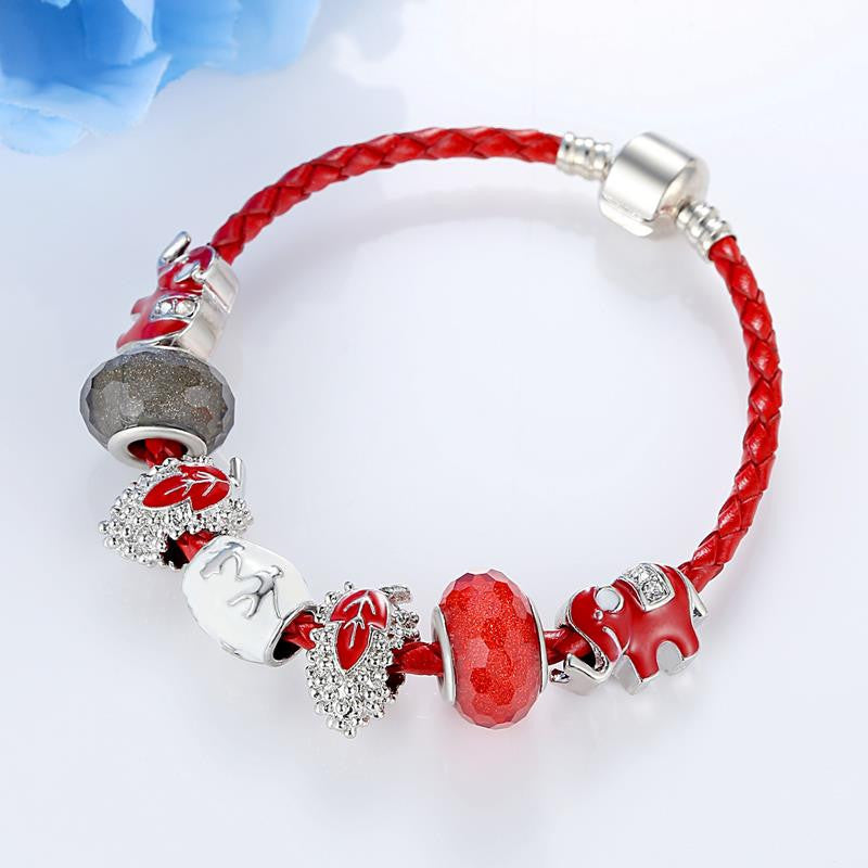 925 Silver Original Murano Glass Bead Flowers Charm Fit Pandora Bracelet With Leather Strand Pulseras Luxury Bijoux