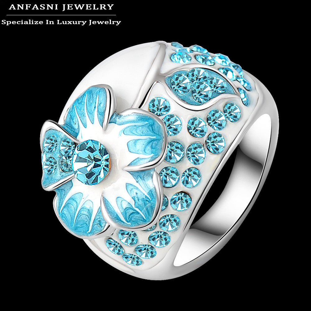 Lake Blue Enamel Austrian Crystal Rings Real Platinum Plated Genuine SWA Stellux Flower Ring Costume Women Jewelry