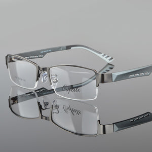 Metal Semi-rimless Frame Eye Glasses Men Business Eyewear Clear