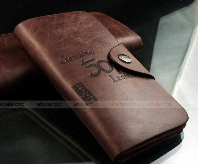 PU Leather Bifold Wallet Brown Long Mens Business