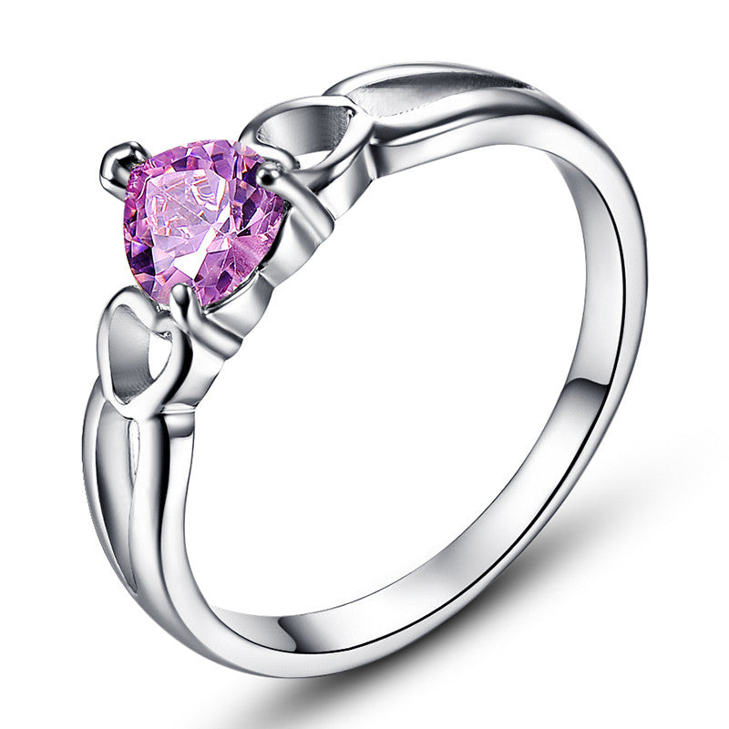 Sincere Love Solitaire Jewelry Women Wedding Lady Heart Cut AAA Pink Topaz 14K White Gold Plated Ring Size 6 7 8 9 10