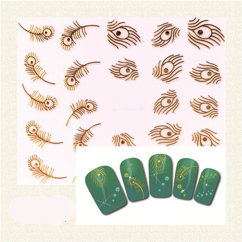 1 Sheet 3D Fashion Gold Peacock Feather Nail Art Stickers, Nail Art Decals Decoration Tools - Gifts Leads